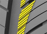 斜線細小輪胎溝紋設計避免溼地打滑